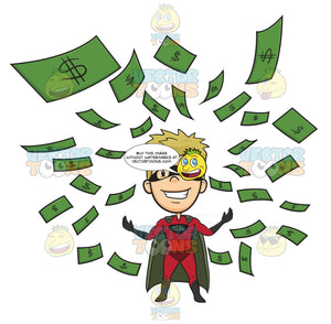 Man In Mask, Cape And Red Super Hero Costume Stands Arms Outreached, While Money Floats Around Him