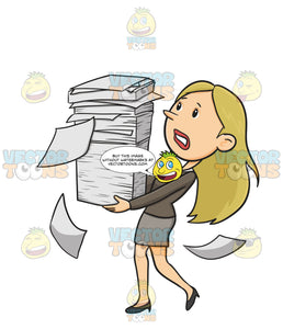 Woman In Work Wear Struggles To Balance A Stack Of White Paper Documents With A Few Papers Falling Floating To Ground