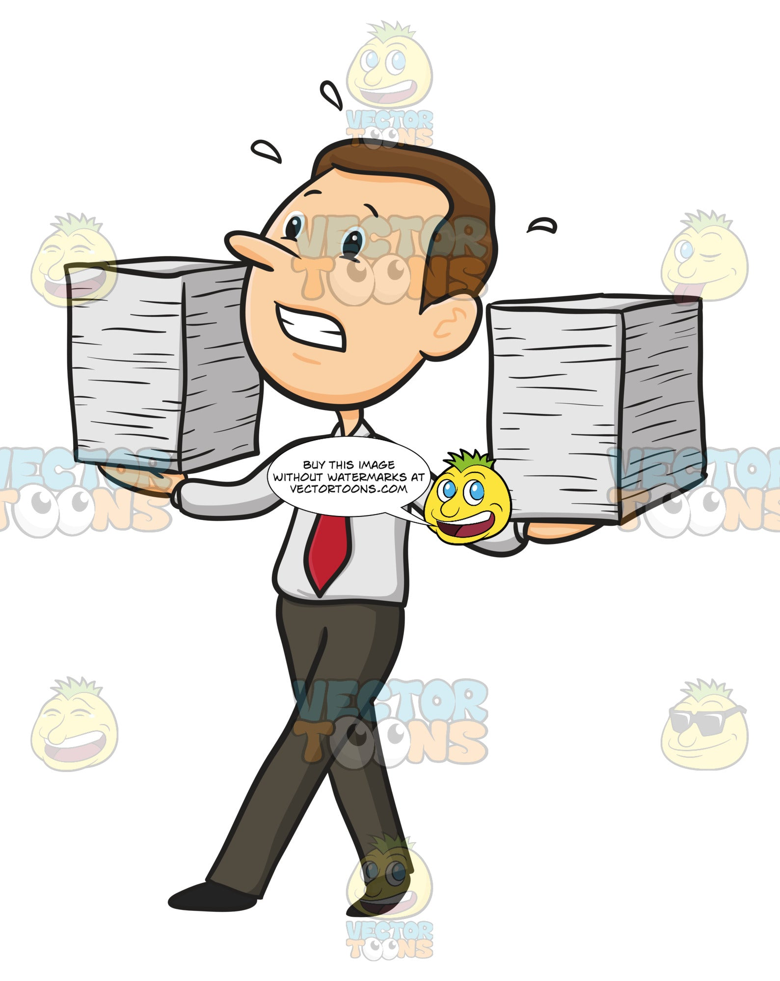 Man In Tie And Button Down Shirt Baslances Two Stacks Of Paper In Each Hand Looking Nervous, Stressed
