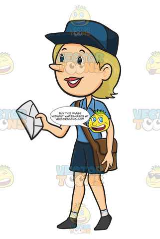 Female Postal Carrier In Blue Uniform With Brown Cross Body Bag Holds A White Envelope