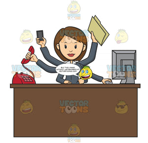 Business Woman Sitting At Desk With Multiple Arms, One Arm Answers Red Phone Call, One Arm Holds Mobile Cell Phone, One Arm Holds Folder, One Arm'S Hand Operates Computer Mouse, One Hand Holds Pen To Write And Other Arms Rests On Paper On Desk