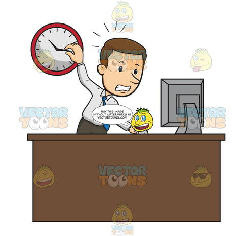 Business Man Stands At Work Desk Staring At Computer Screen With One Hand On Wall Clock And His Other Hand Operating Computer Mouse, Looks Stressed