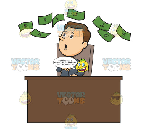 Man In Business Suit Sitting At Desk Looking Up In The Air At Floating Green Dollar Bills
