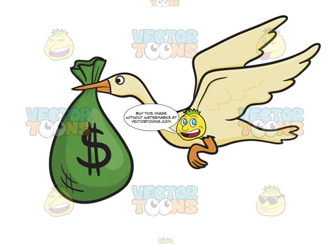 White Bird Stork Flying, Delivers Green Bag With Dollar Bill Sign On It In Beak