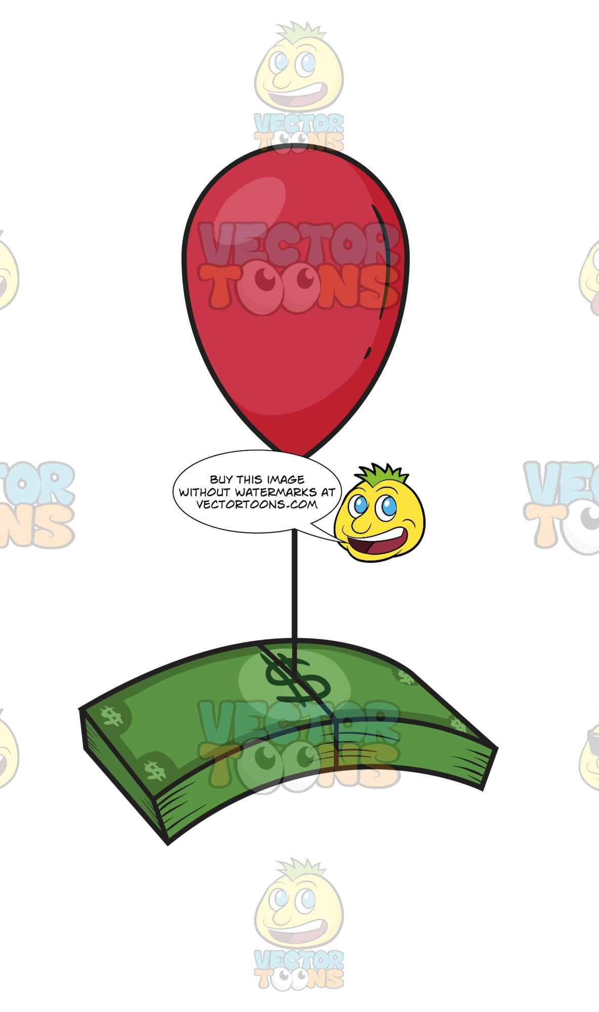 Red Balloon Floating With A Stack Of Green Dollar Bills Tied To The End Of Its String