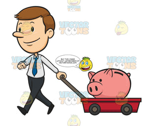 White Collar Business Man Walks Pulling Red Wagon That Carries Pink Piggy Bank
