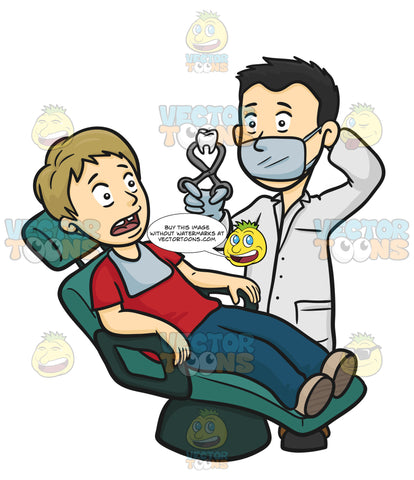 Male Dentist In White Lab Coat, Surgical Mask And Gloves, Holds Aloft A Human Tooth In Forceps As Patient In Dental Chair Looks On In Terror With Missing Tooth