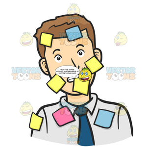 Man With Short Brown Hair In White Shirt And Blue Tie Looks Confused, Covered In Multicolored Sticky Post It Notes