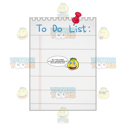 White Spiral Bound Lined Paper With 'To Do List' Written In Blue At Top Along With Red Thumbtack