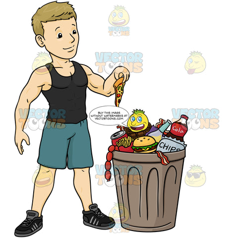 Blonde Man In Black Sleevless T-Shirt, Blue Gym Shorts And Black Sneakers, Stands Over Garbage Can Overflowing With Various Junk Foods, Holds Slice Of Dripping Pizza In Hand, About To Throw It In Trash Bin