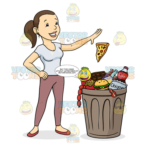 Brunette Ponytail Woman In Tight White T-Shirt, Pink Leggings Stands Over Garbage Can Overflowing With Various Fast Foods,Confidentally Throws Slice Of Pizza Away Into Trash Bin