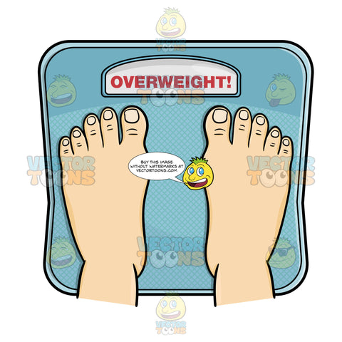 Overhead View Of Two Human Feet On Floor Weight Scale With The Scale Reading 'Overweight!' In Bold Red Caps