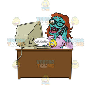 Green Zombie Office Worker Monster Woman Smiling, With Brown Hair, Sits At Desk, Talking On Mobile Phone In One Hand, Typing On Computer With Other Hand