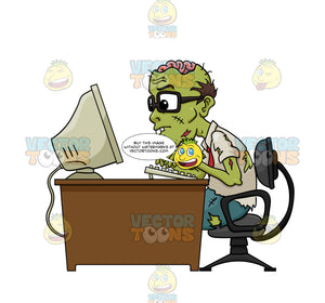 Glasses Wearing Green Zombie Office Worker Missing Top Half Of Skull, Exposed Brain, Sits At Desk Typing At Computer, Working Hard