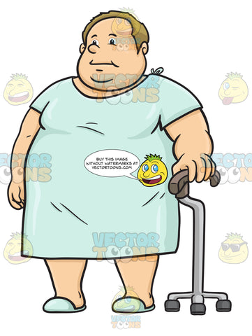 Overweight Man Wearing A Hospital Gown And Using A Cane