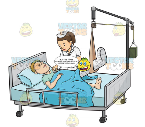 Sick Male Patient Laying In In A Hospital Bed While A Nurse Checks His Vitals The Patient Has His Leg In A Cast While Being Held Up By A Traction