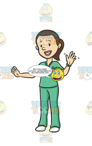 A Friendly Nurse Waving To Patients The Nurse Is Wearing Green Scrubs