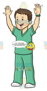 Friendly Male Nurse In Green Scrubs Waving His Arms