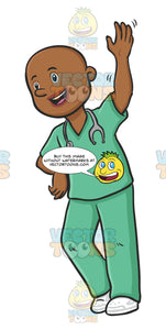 Bald Male Nurse Appears Friendly While Waving The Character Can Be Leaning On A Counter Or Desk While Waving
