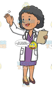 Female Doctor Holding A Clipboard And Waving