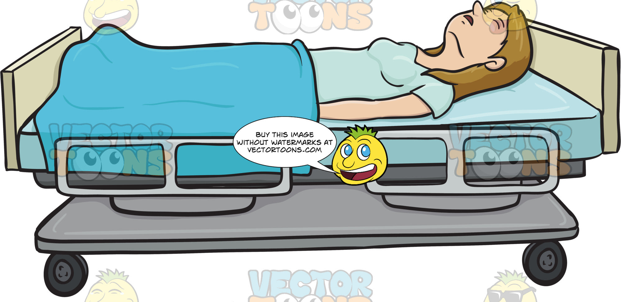 Woman Is Laying On A Hospital Bed With Her Eyes Clothes She Is Covered U2013  Clipart Cartoons By VectorToons