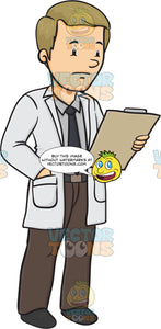 Male Doctor Holding A Chart His Face Appears As If It Is Not Good News
