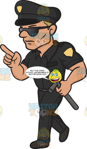 Police Man Wearing Sunglasses Pointing His Finger