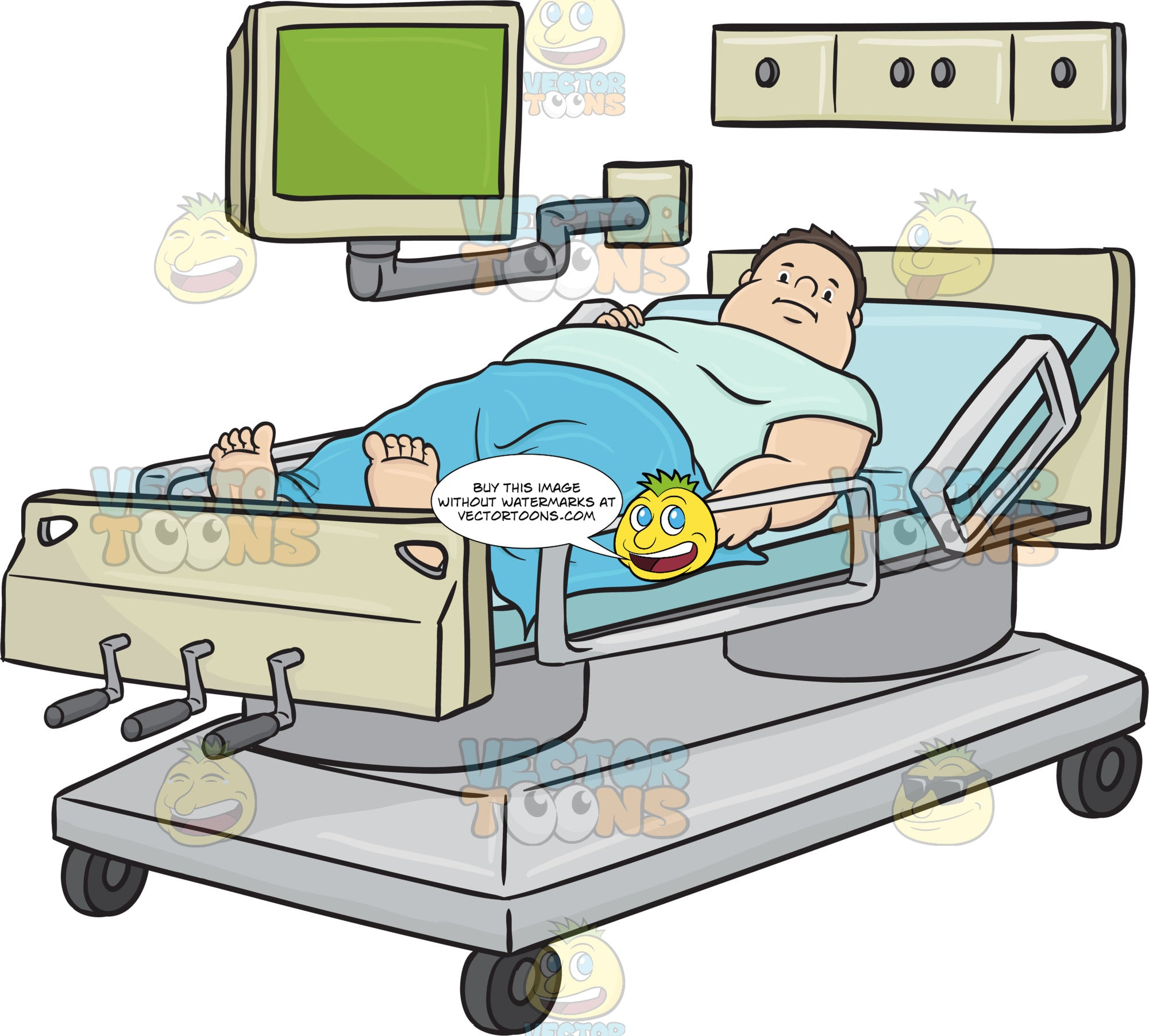 Obese Man Laying In A Hospital Bed With A Monitor Above Him