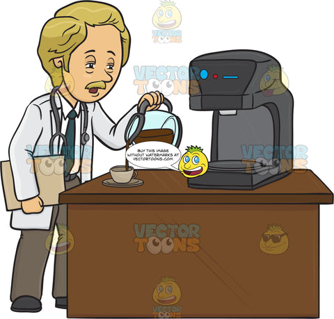 Tired Male Doctor Is Pouring Himself A Cup Of Coffee