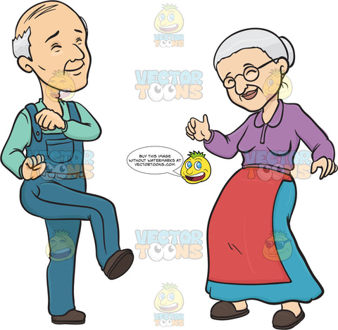 Elderly Couple Smiling While Dancing
