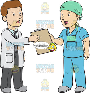 Doctor Is Handing Over Charts To A Surgeon The Surgeon Is Wearing A Face Mask Around His Neck And A Scrub Cap