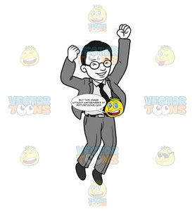 Happy Businessman Jumping With His Hands In The Air