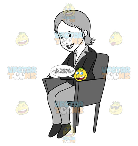 Business Woman Sitting In A Chair With Her Arms Crossed