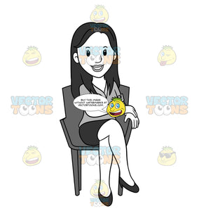 Business Woman Sitting In A Chair With Her Legs Crossed