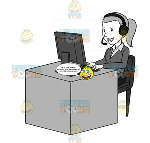 Woman With A Headset Sitting Behind A Desk And Typing