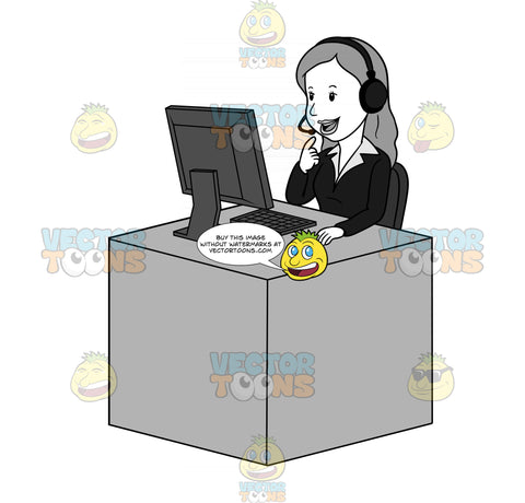Woman Sitting Behind A Desk And Talking On Her Headset