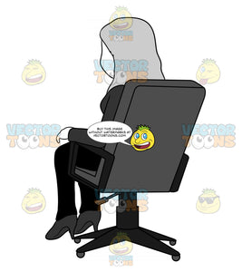 Back View Of A Woman Sitting In An Office Chair
