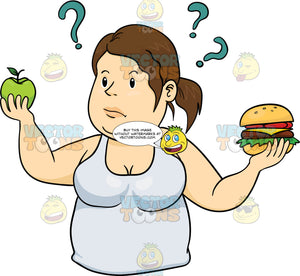 Overweight Woman In A White Tank Top Trying Decide Between A Burger And An Apple