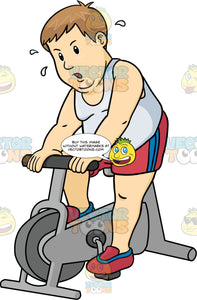 Overweight Man In Red Shorts And A White Tank Top Riding A Stationary Bike