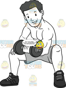 Muscular Man Sitting And Doing Bicep Curls