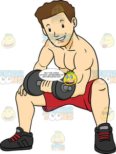 Muscular Man In Red Shorts Sitting And Doing Bicep Curls