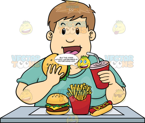 Overweight Man Eating Too Much Unhealthy Fast Food