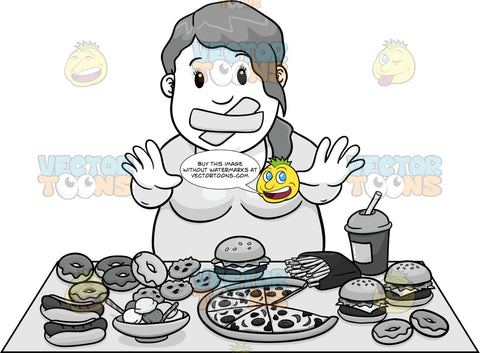 Woman With Tape Over Her Mouth Standing In Front Of A Table Full Of Fattening Foods