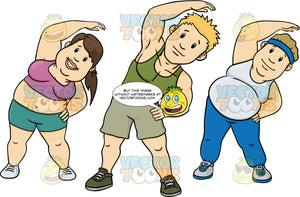 Fitness Instructor And An Overweight Woman And Man Stretching