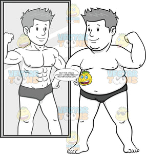 Overweight Man Looking In The Mirror Flexing And The Reflection Is Fit And Muscular