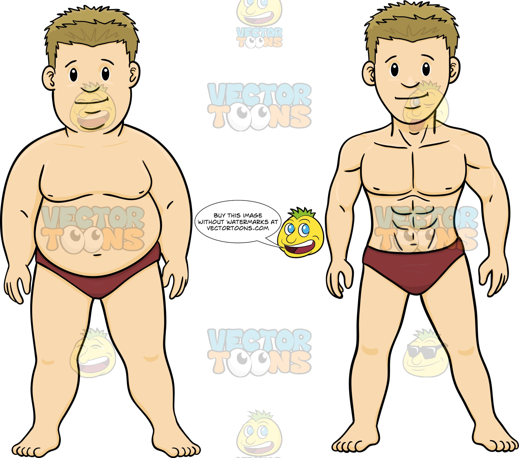 d2a53e6f07 Overweight And Muscular Versions Of A Man In A Speedo Bathing Suit –  Clipart Cartoons By VectorToons