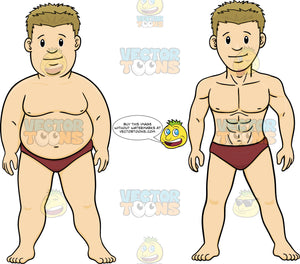88b7d169e3 Overweight And Muscular Versions Of A Man In A Speedo Bathing Suit – Clipart  Cartoons By VectorToons