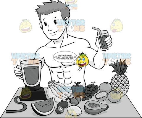 Fit Man Making A Fruit Smoothie