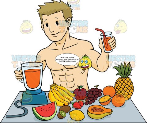 Muscular Man Making A Fruit Smoothie