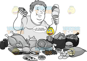 Overweight Man Enjoying Lots Of Fattening Foods